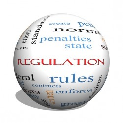Regulation 3D sphere Word Cloud Concept with great terms such as rules enforce government and more.