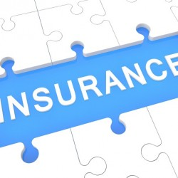 Insurance - puzzle 3d render illustration with word on blue background